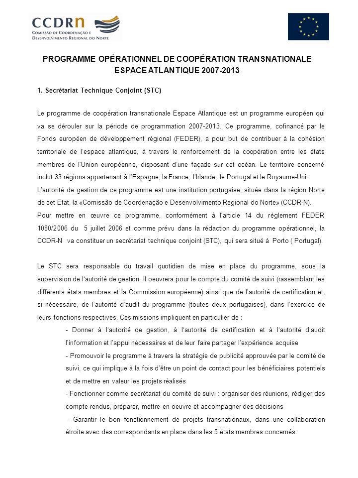 PROGRAMME OPÉRATIONNEL DE COOPÉRATION TRANSNATIONALE ESPACE ATLANTIQUE 2007-2013
