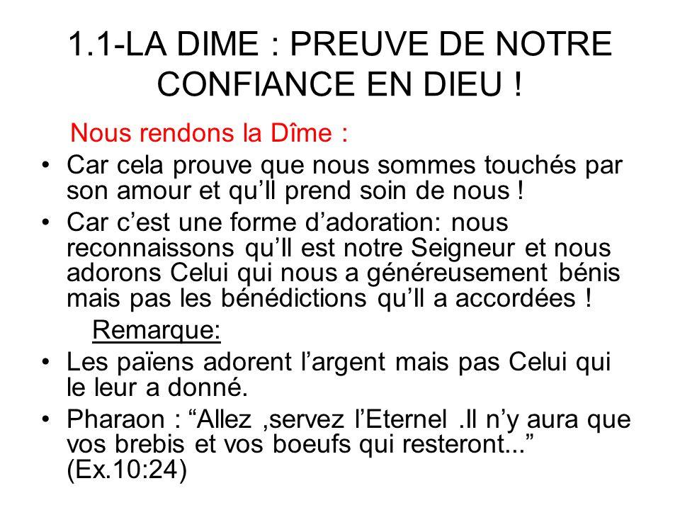 1.1-LA DIME : PREUVE DE NOTRE CONFIANCE EN DIEU !