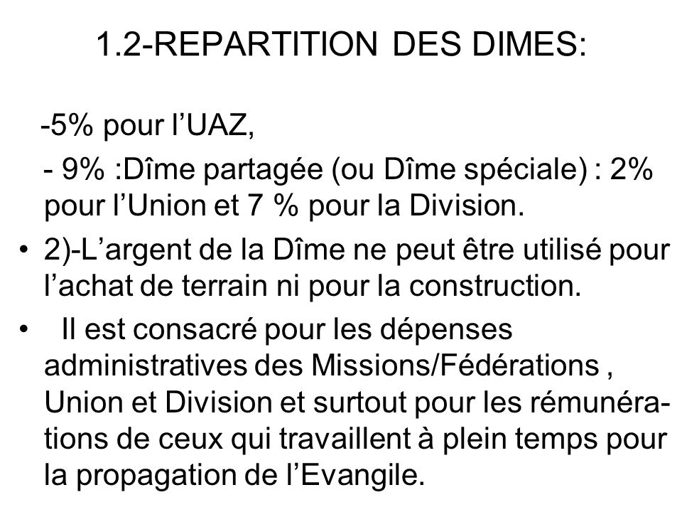 1.2-REPARTITION DES DIMES: