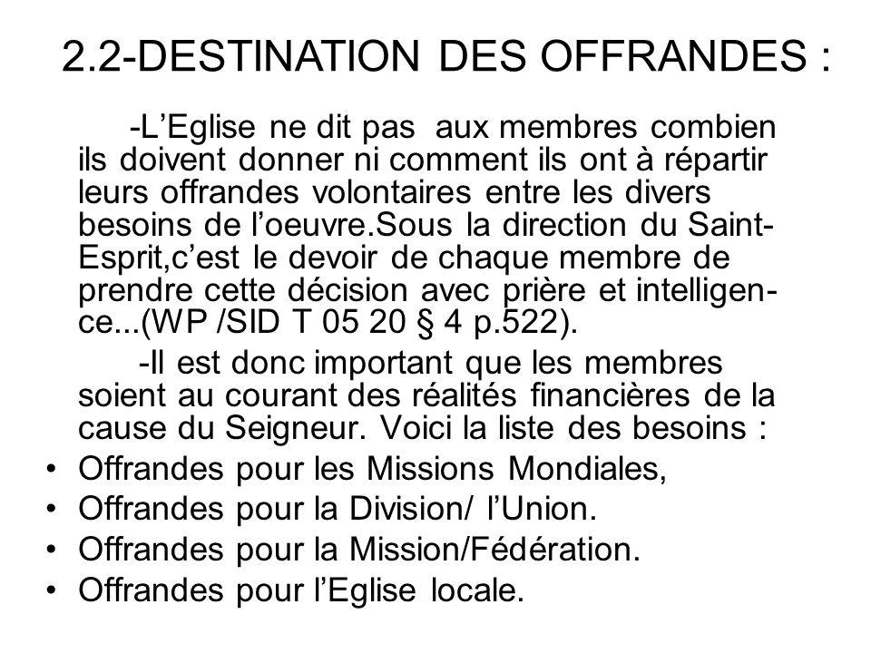 2.2-DESTINATION DES OFFRANDES :