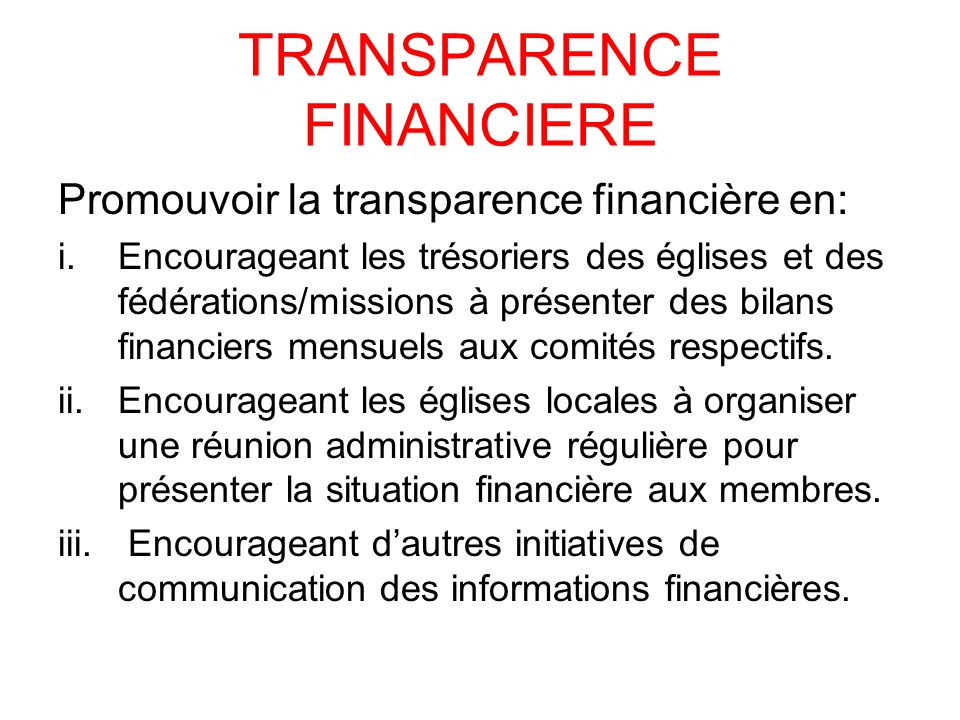 TRANSPARENCE FINANCIERE