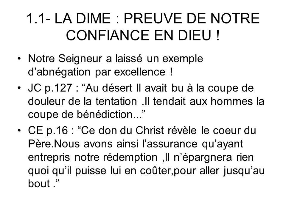 1.1- LA DIME : PREUVE DE NOTRE CONFIANCE EN DIEU !
