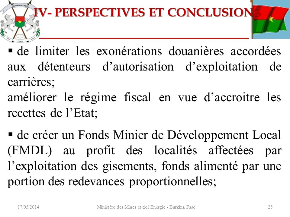 IV- PERSPECTIVES ET CONCLUSIONS