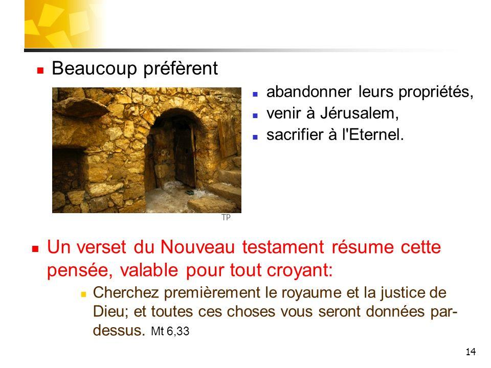 Beaucoup préfèrent abandonner leurs propriétés, venir à Jérusalem, sacrifier à l Eternel. TP.