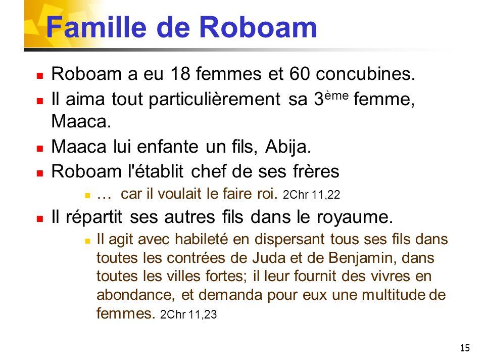 Famille de Roboam Roboam a eu 18 femmes et 60 concubines.