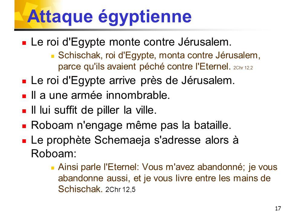 Attaque égyptienne Le roi d Egypte monte contre Jérusalem.