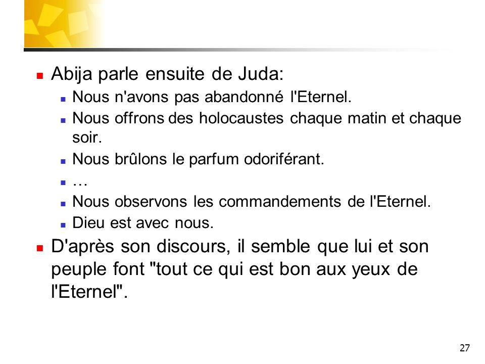 Abija parle ensuite de Juda: