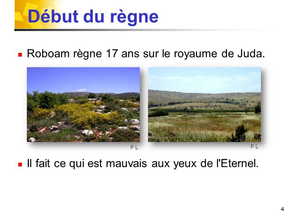 Début du règne Roboam règne 17 ans sur le royaume de Juda.