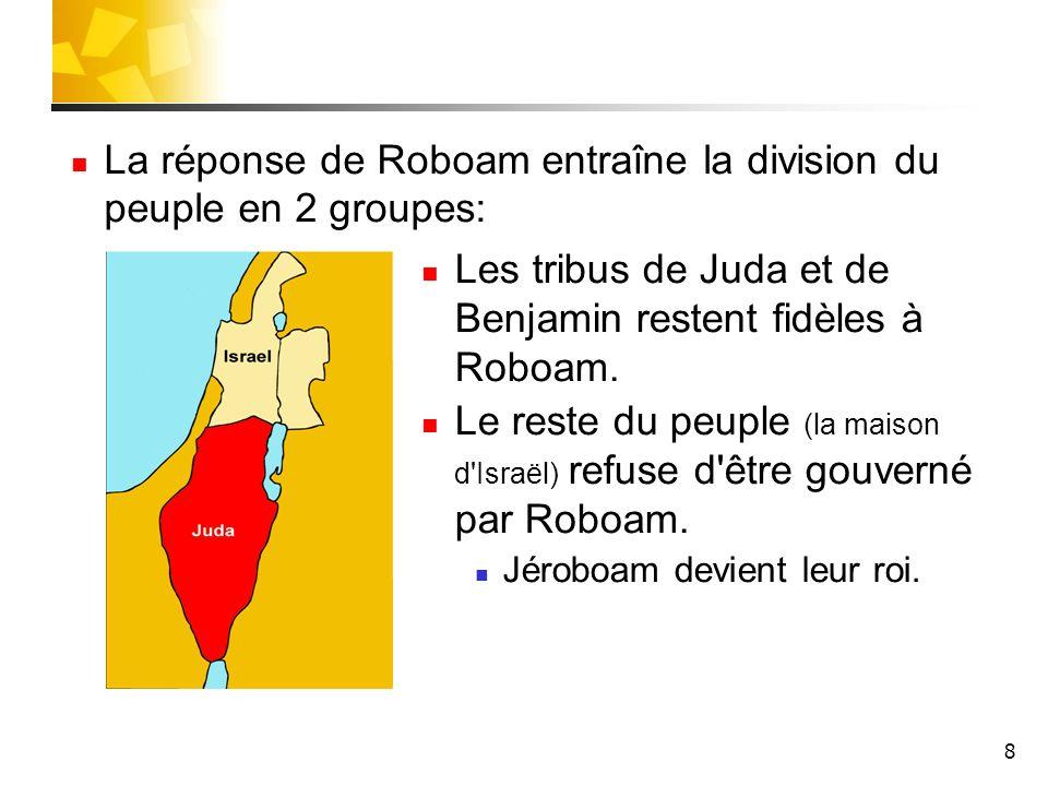 La réponse de Roboam entraîne la division du peuple en 2 groupes: