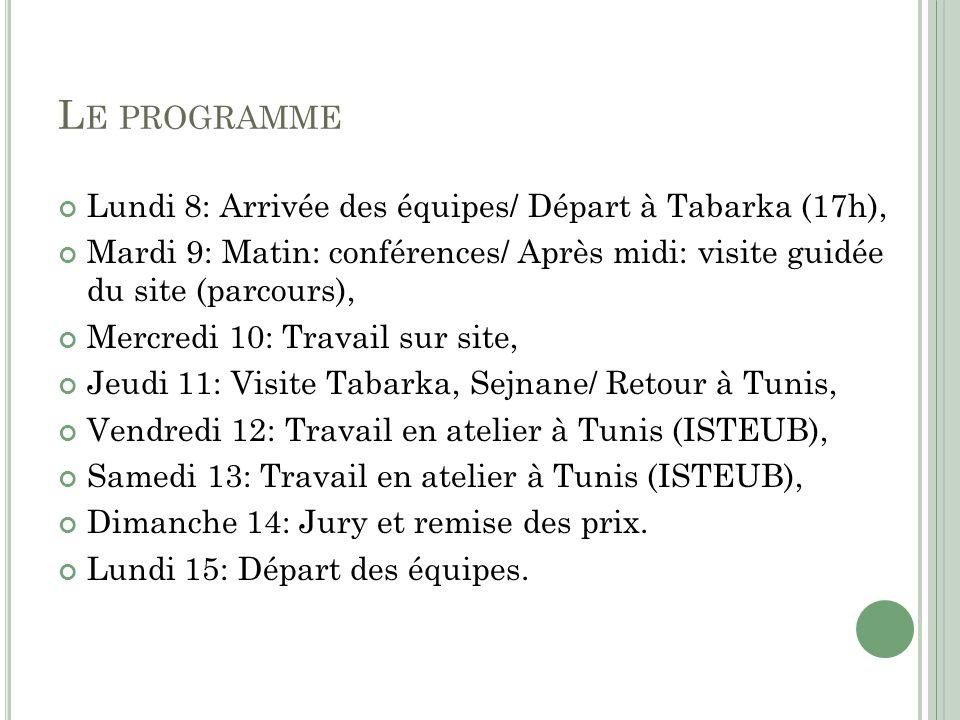 Le programme Lundi 8: Arrivée des équipes/ Départ à Tabarka (17h),