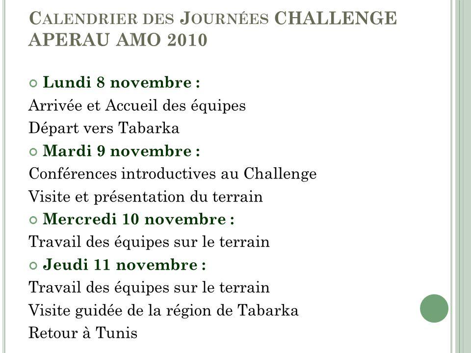 Calendrier des Journées CHALLENGE APERAU AMO 2010