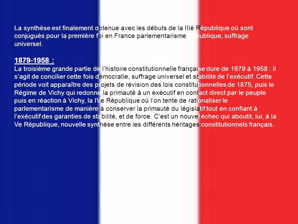 La synthèse est finalement obtenue avec les débuts de la IIIè République où sont conjugués pour la première foi en France parlementarisme, république, suffrage universel.