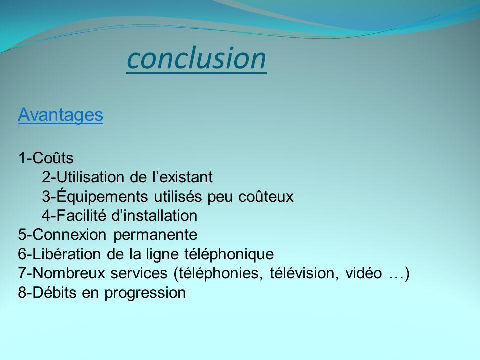conclusion Avantages 1-Coûts 2-Utilisation de l'existant