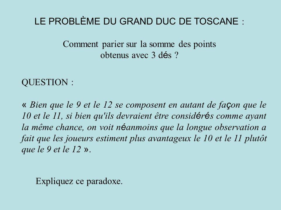 LE PROBLÈME DU GRAND DUC DE TOSCANE :