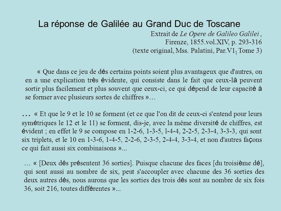 La réponse de Galilée au Grand Duc de Toscane