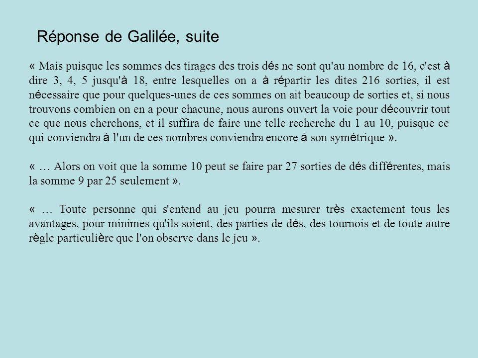 Réponse de Galilée, suite