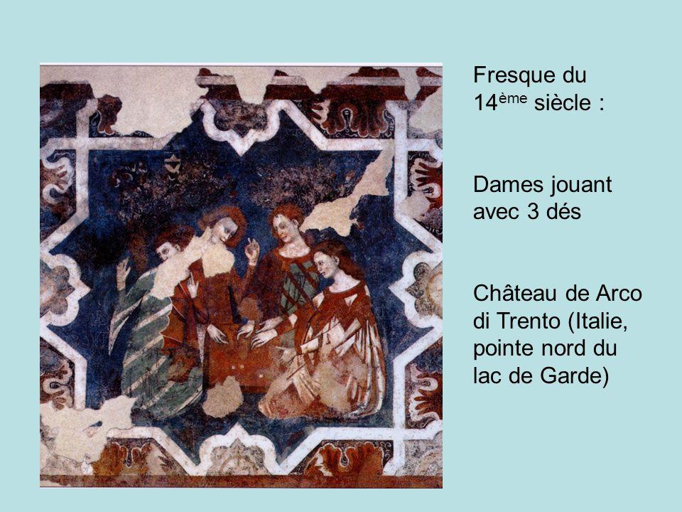 Fresque du 14ème siècle : Dames jouant avec 3 dés.