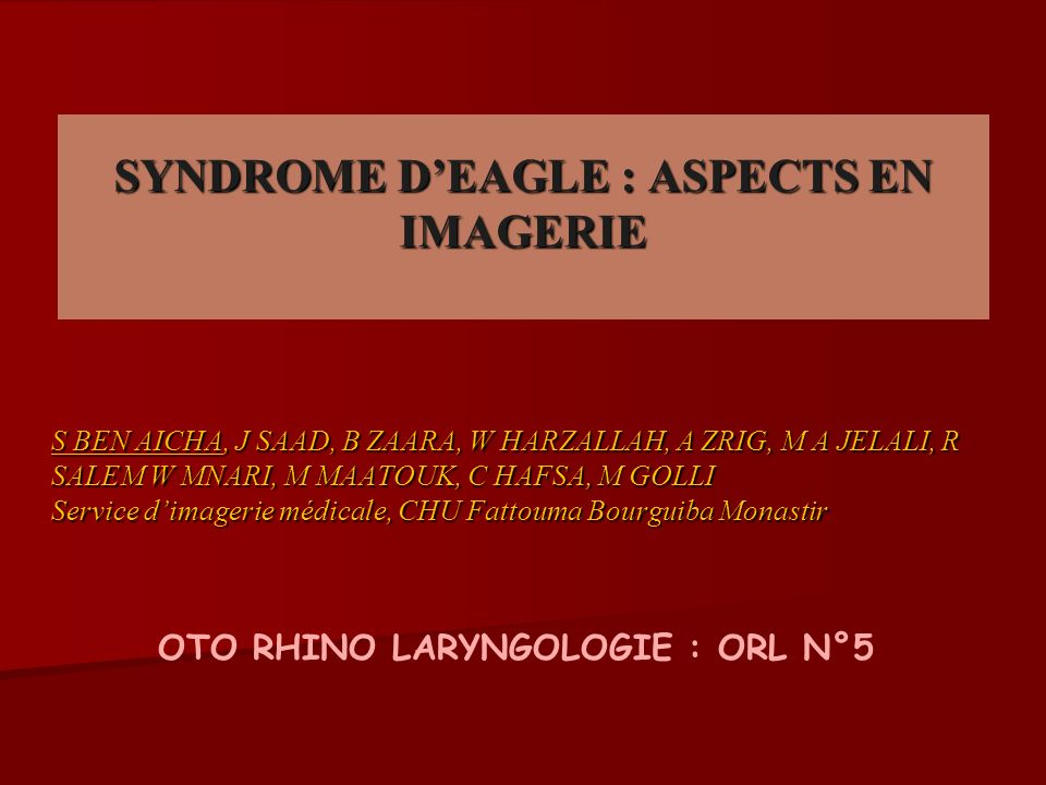 SYNDROME D'EAGLE : ASPECTS EN IMAGERIE