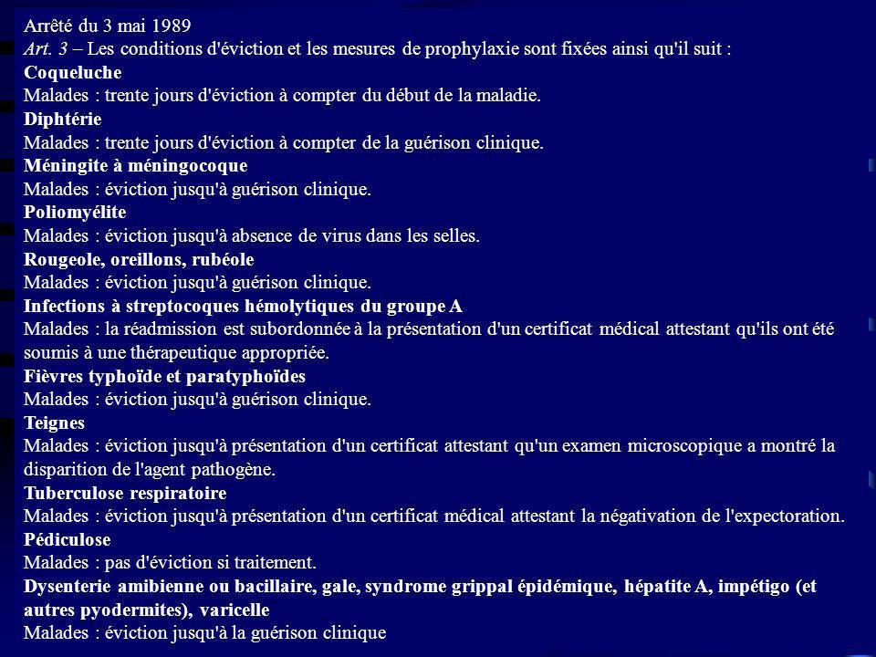 Arrêté du 3 mai 1989 Art. 3 – Les conditions d éviction et les mesures de prophylaxie sont fixées ainsi qu il suit :