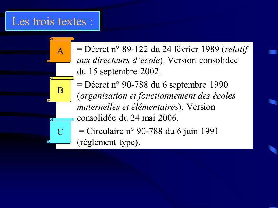 Les trois textes : A. = Décret n° 89-122 du 24 février 1989 (relatif aux directeurs d'école). Version consolidée du 15 septembre 2002.