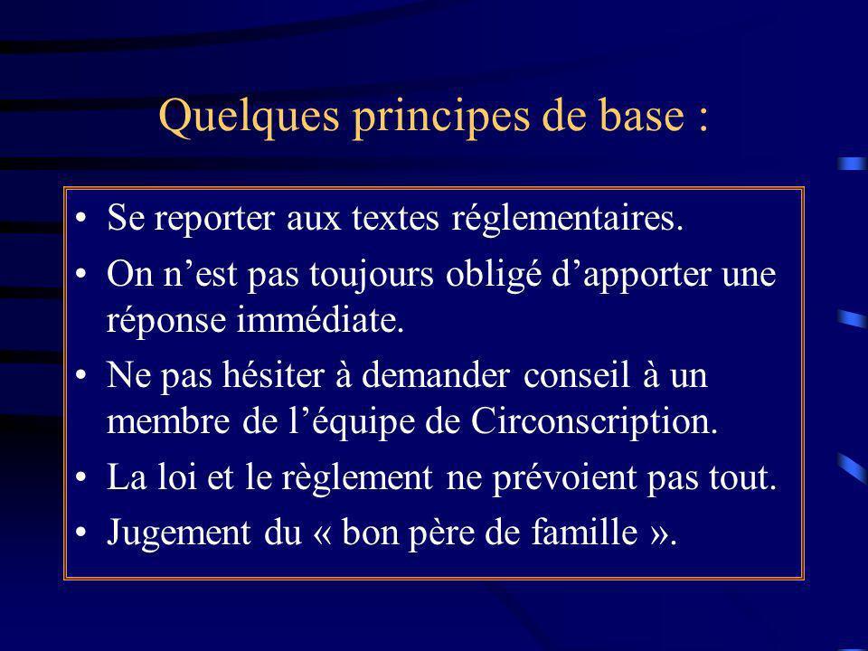 Quelques principes de base :
