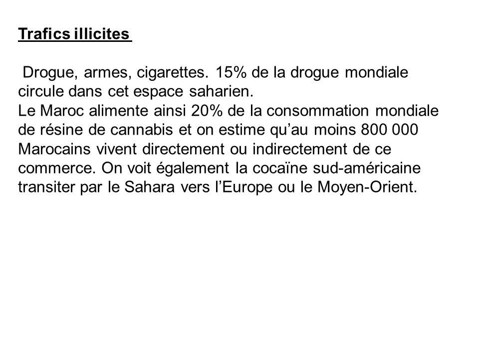 Trafics illicites Drogue, armes, cigarettes. 15% de la drogue mondiale circule dans cet espace saharien.