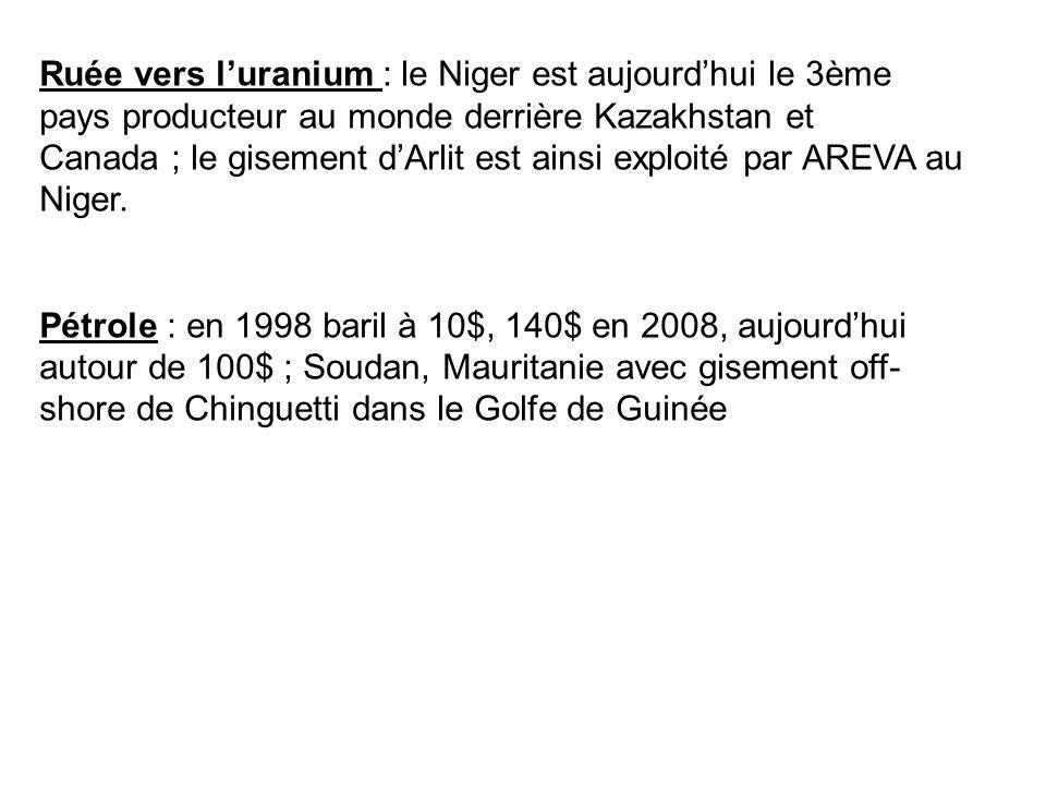 Ruée vers l'uranium : le Niger est aujourd'hui le 3ème pays producteur au monde derrière Kazakhstan et Canada ; le gisement d'Arlit est ainsi exploité par AREVA au Niger.