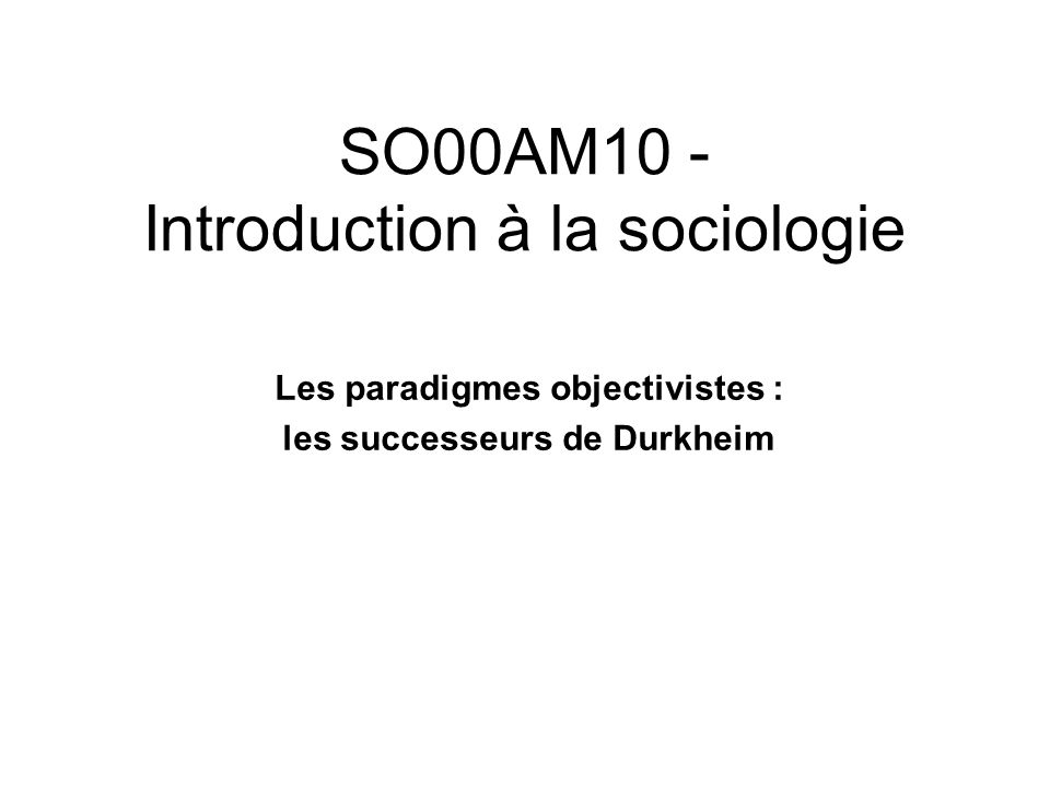 SO00AM10 - Introduction à la sociologie