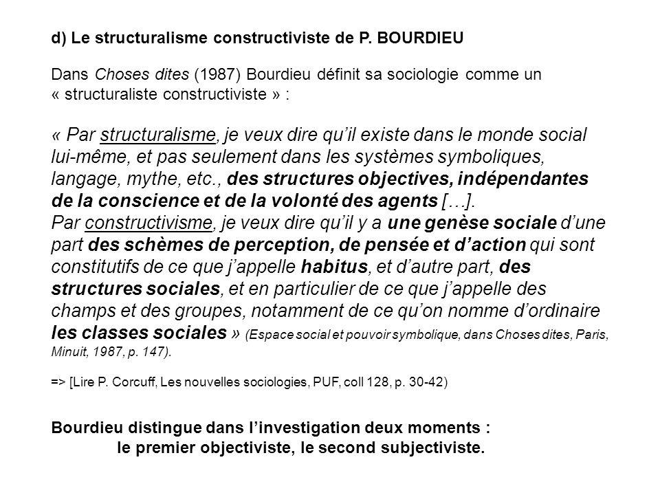 d) Le structuralisme constructiviste de P. BOURDIEU