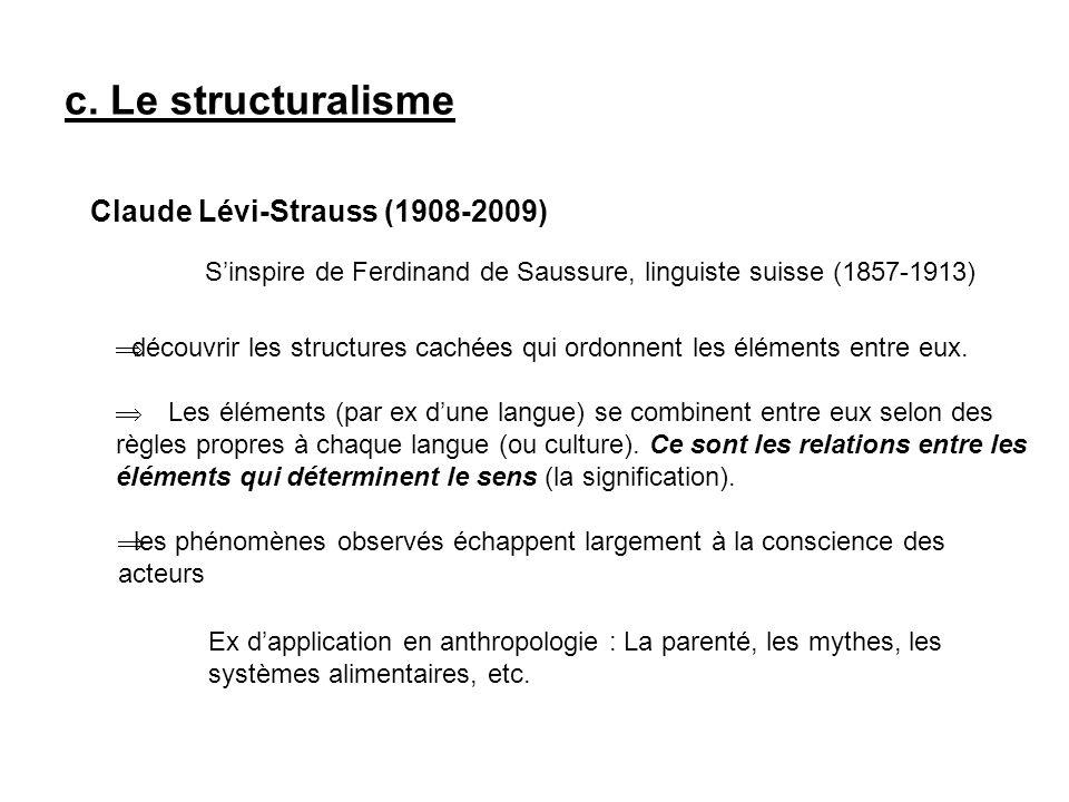 c. Le structuralisme Claude Lévi-Strauss (1908-2009)