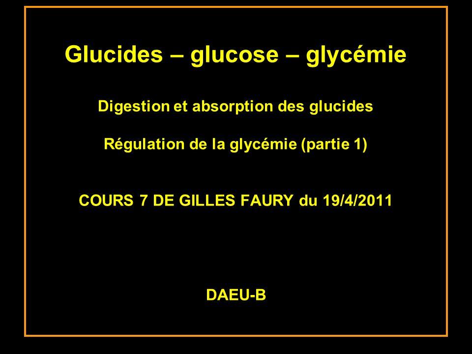 Glucides – glucose – glycémie Digestion et absorption des glucides Régulation de la glycémie (partie 1) COURS 7 DE GILLES FAURY du 19/4/2011 DAEU-B