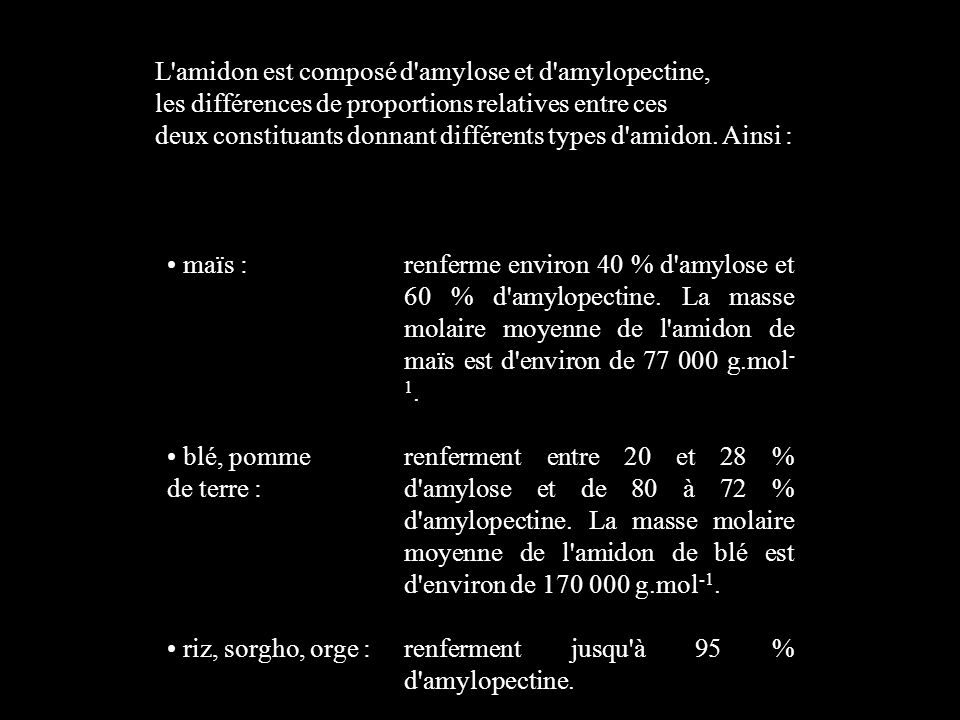L amidon est composé d amylose et d amylopectine,