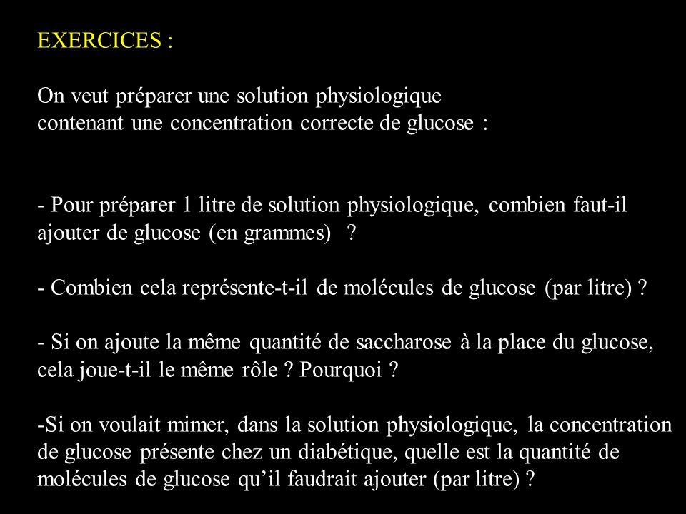 EXERCICES : On veut préparer une solution physiologique. contenant une concentration correcte de glucose :
