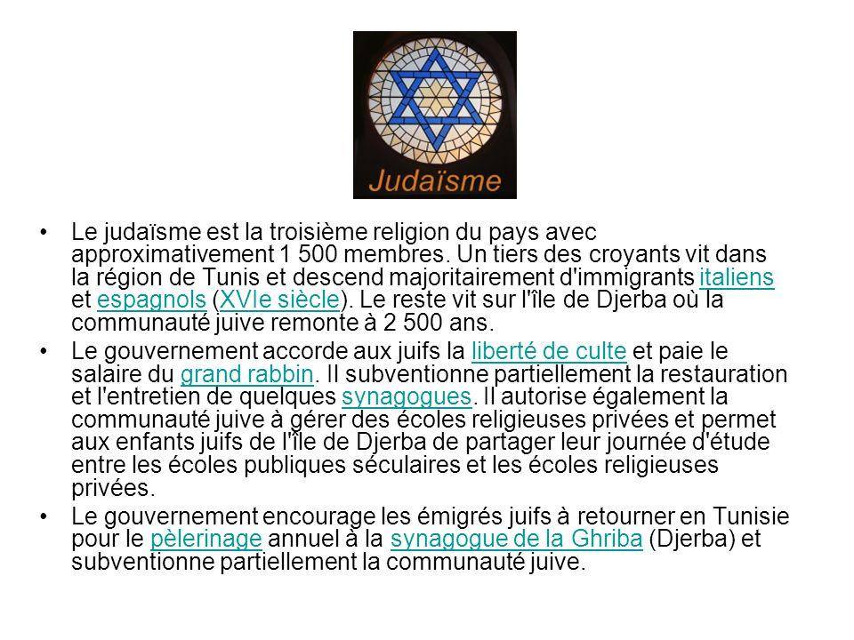 Le judaïsme est la troisième religion du pays avec approximativement 1 500 membres. Un tiers des croyants vit dans la région de Tunis et descend majoritairement d immigrants italiens et espagnols (XVIe siècle). Le reste vit sur l île de Djerba où la communauté juive remonte à 2 500 ans.