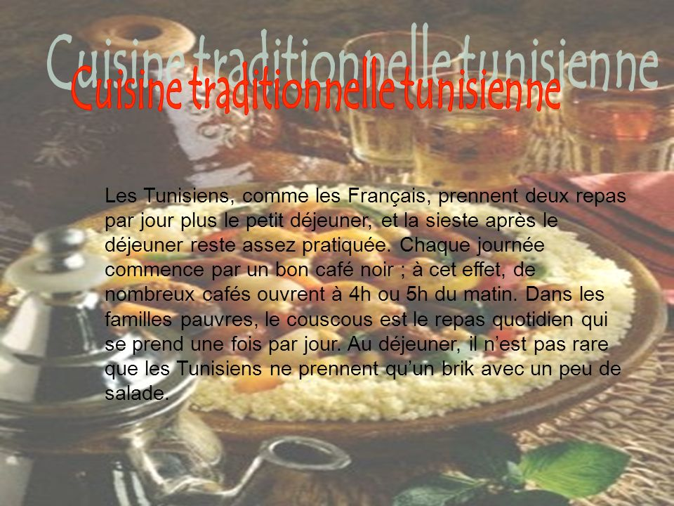 Cuisine traditionnelle tunisienne