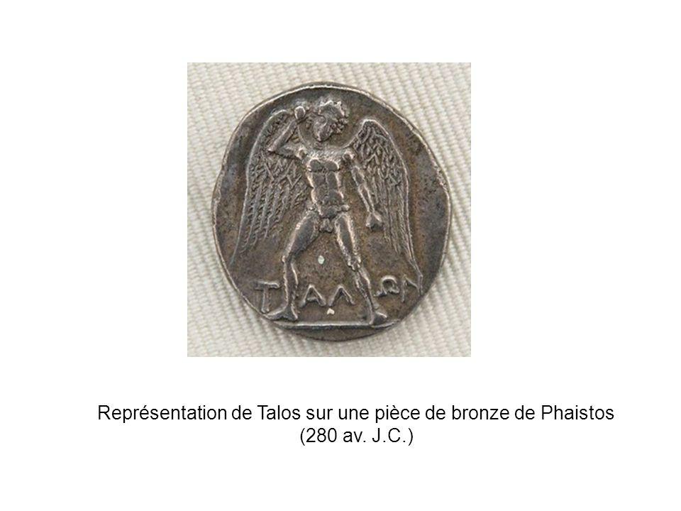 Représentation de Talos sur une pièce de bronze de Phaistos