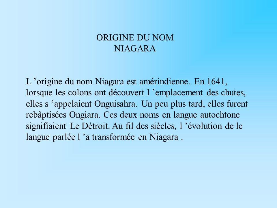 ORIGINE DU NOM NIAGARA