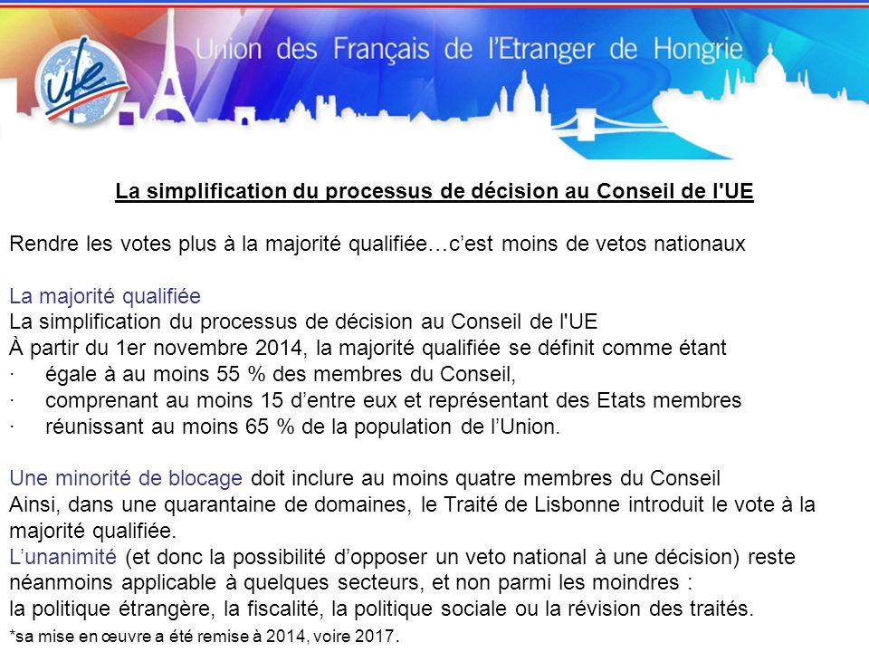 La simplification du processus de décision au Conseil de l UE