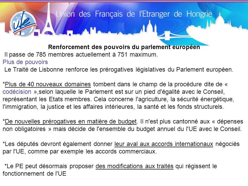 Renforcement des pouvoirs du parlement européen