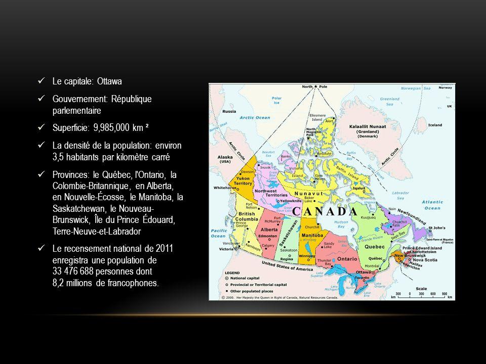 Le capitale: Ottawa Gouvernement: République parlementaire. Superficie: 9,985,000 km ².