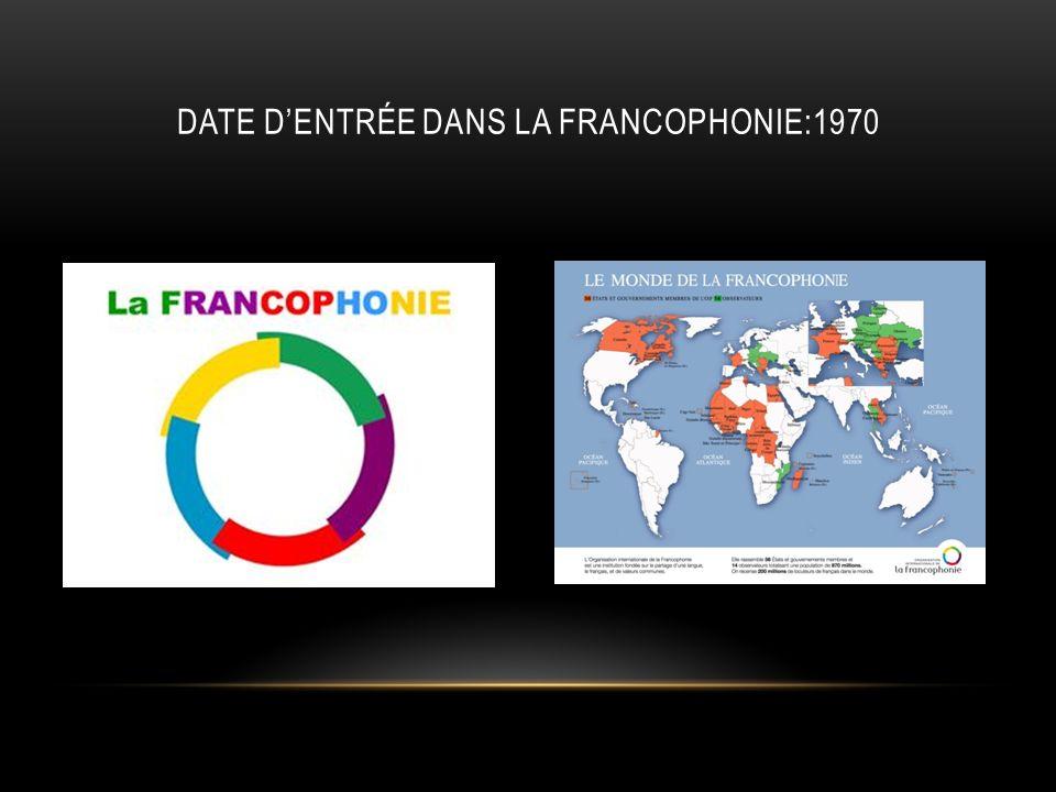 Date d'entrée dans la Francophonie:1970