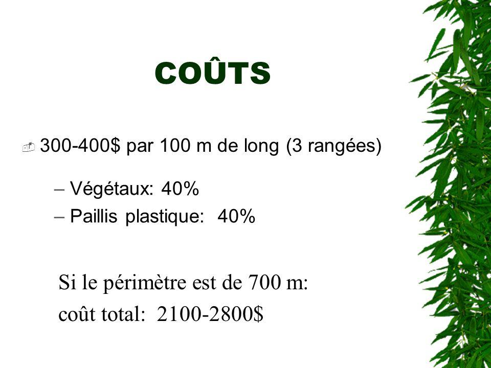 COÛTS Si le périmètre est de 700 m: coût total: 2100-2800$