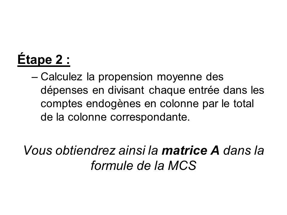 Vous obtiendrez ainsi la matrice A dans la formule de la MCS