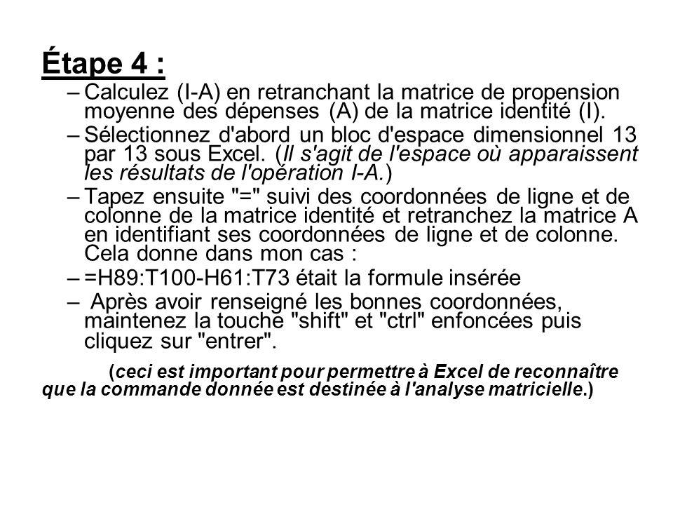 Étape 4 : Calculez (I-A) en retranchant la matrice de propension moyenne des dépenses (A) de la matrice identité (I).