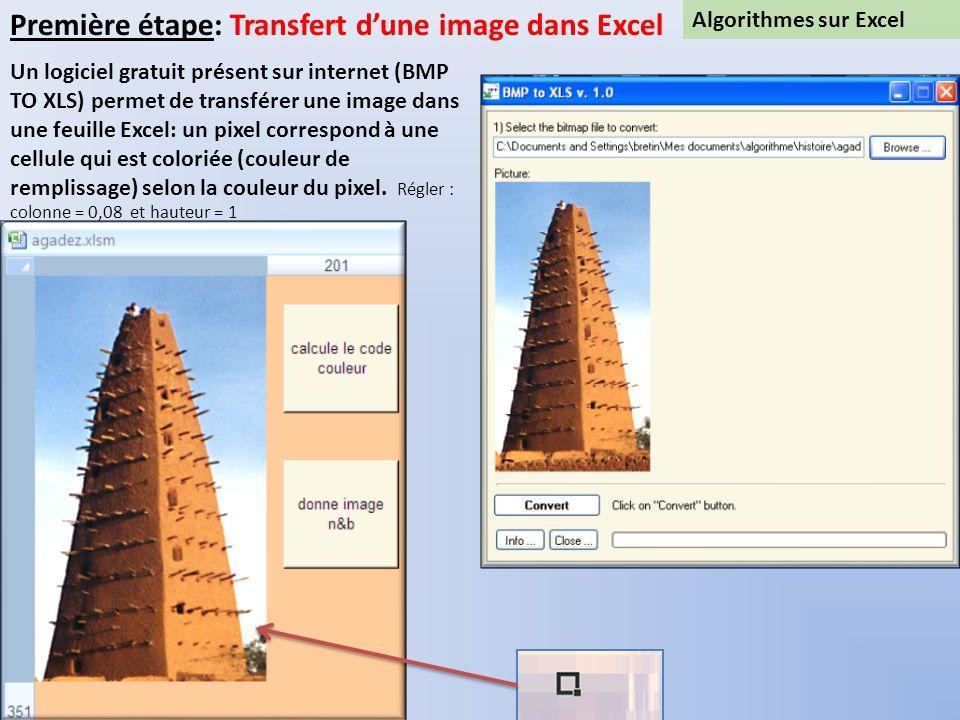 Première étape: Transfert d'une image dans Excel
