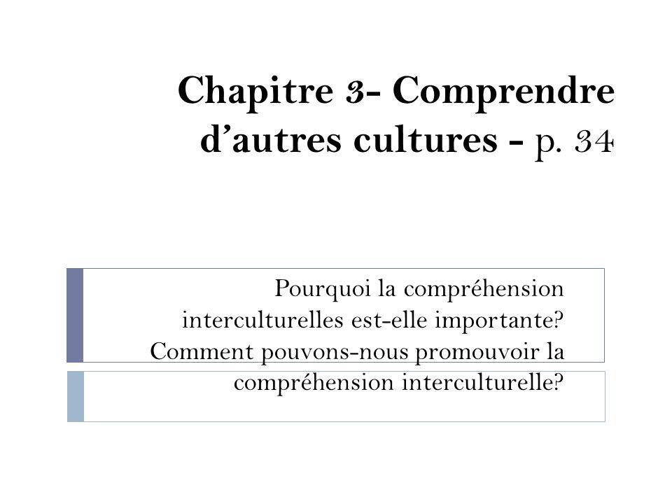 Chapitre 3- Comprendre d'autres cultures - p. 34