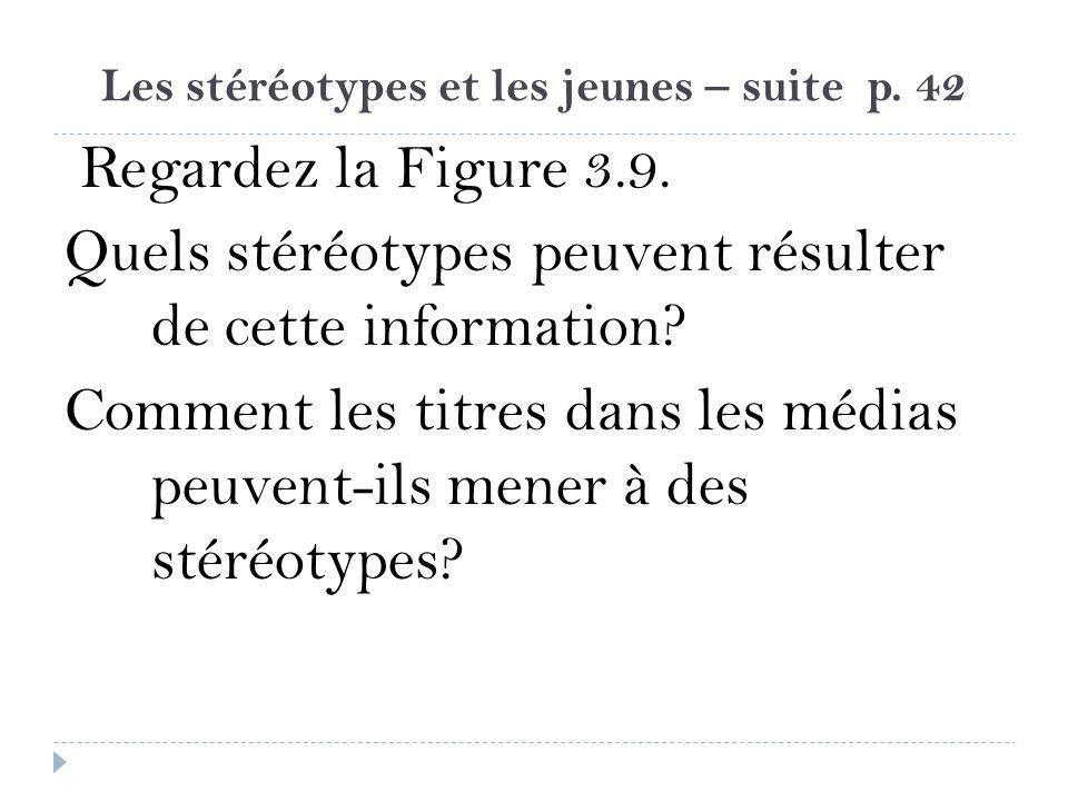Les stéréotypes et les jeunes – suite p. 42