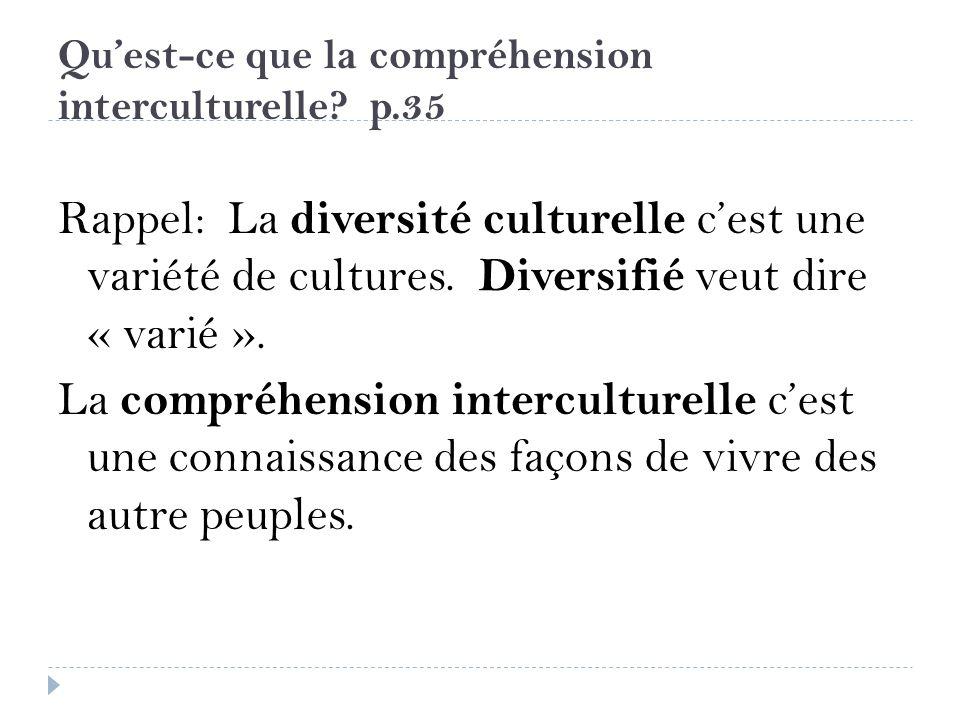 Qu'est-ce que la compréhension interculturelle p.35