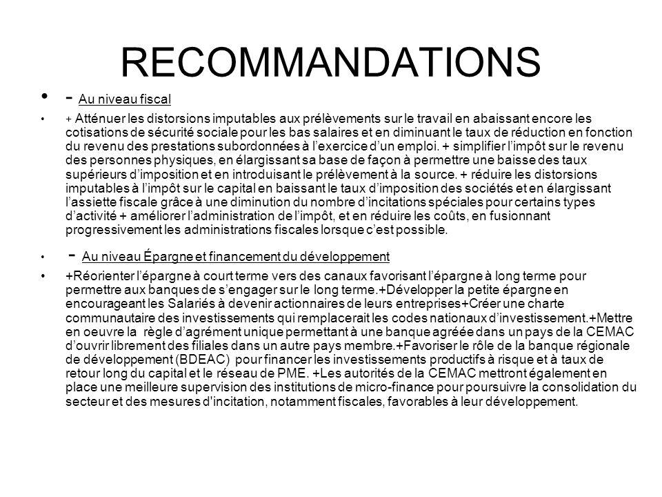 RECOMMANDATIONS - Au niveau fiscal
