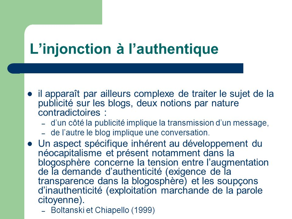 L'injonction à l'authentique